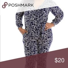 Pixel print jumpsuit 2xl Pixel print wrap style jumpsuit. Very cute for work or going out! Pants Jumpsuits & Rompers