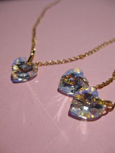 Swarovski heart set earrings and necklace gold plated by asiako25, $25.00