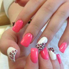 pink & leopard print nails