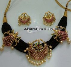 Black Cord Sets with Ruby Lockets - Jewellery Designs