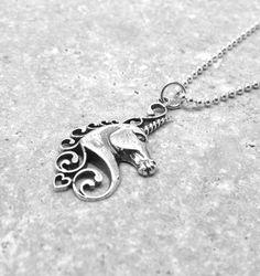 Sterling SIlver Unicorn Necklace Unicorn by GirlBurkeStudios