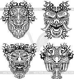 Ацтек маски тотема монстр - векторное графическое изображение