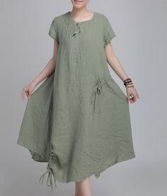 Floral Plait Linen Dress