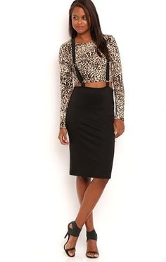 Deb Shops Solid Midi Skirt with Suspenders $20.00
