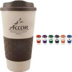 The exclusive 16 oz Grip N Go Grande is made BPA free with double wall insulation. This PolyPro cup is designed with a diamond patterned rubber grip and a drink-thru lid. Comes with a matching rubber non-skid bottom. Perfect for promoting cafes, coffee shops, and restaurants. Makes a great giveaway at trade shows and conventions, too! May be customized with your company name and logo or purchased without imprint. Protected by Patent #D662,362 S.