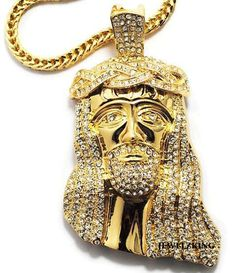 Jewelzking - Mens Hip Hop Iced Out Bling 14K Gold Finish CZ Jesus Piece Pendant With Franco Chain. Mens Jewelry - Mens Fashion - Gift for Dad #hiphopjewelry #goldjesuspiece #goldjesuschain