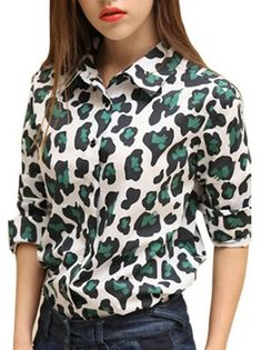Trendy Leopard Printed Long Sleeve Single Breasted Button Loose Blouse Two Colors on buytrends.com