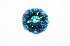 New Listings Daily - Follow Us for UpDates -  Round Blue Rhinestone Brooch - #Vintage Margarite Rhinestones - Mid Century Vintage 1950's 1960's Iridescent Blue & Green Flowers offered by #TheJewelSeeker on Etsy  Style:  ... #vintage #jewelry #teamlove #etsyretwt #thejewelseeker ➡️ http://etsy.me/2vjWM2q
