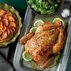 Roast Chicken with Sweet Potatoes and Apples | Feed the gang with one large 5- to 6-pound bird or two smaller ones. To achieve golden brown skin, first roast at high heat, then turn the oven temperature down to cook the chicken through. Serve with sweet potatoes and apples for a perfect finish. | SouthernLiving.com