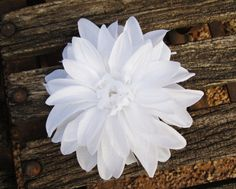 White Heart Dahlia Hair Flower Clip by LilaJo on Etsy (Accessories, Hair Accessories, Barrettes & Clips, silk flower, weddings, rockabilly, bridal bride, prom dance, burlesque, hair accessorie clip, girl woman, dahlia, pinup, Pinup hair clip, white, hair accessory)
