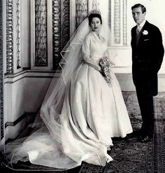 Wedding portrait of Princess Margaret and her groom, photographer Antony Armstrong-Jones.  Though a commoner, Armstrong-Jones wasn't a divorcee, so he was accepted as a mate for the Princess.  Margaret's wedding was the first royal wedding to be televised.