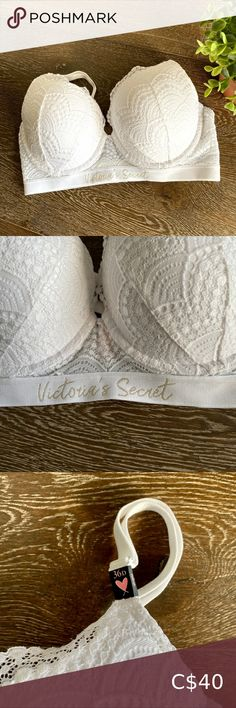 Victoria's secret white lace t shirt push up 36D New with tags Victoria's secret white t shirt push up Scalloped edge lace overlay Full coverage Size 36D Victoria's Secret Intimates & Sleepwear Bras Victoria Secret Lingerie, Victoria Secret Pink, Blue Lace, White Lace, Red Lace Bralette, Leather Bodysuit, Velvet Bra, Vs Bras, Pink Leopard Print