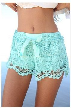 Bowknots Lace Irregular High Waist Beach Hot Shorts