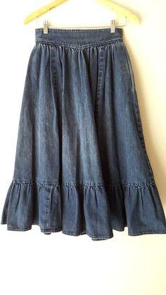 Jean Skirt Size XSmall Full High Waist Ruffle Hem Vintage 80s Dark Denim Midi #Unknown