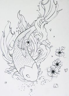 Koi outline: Koi Outline Pretty Prints Tattoo Whimsy Tattoo Designs ...