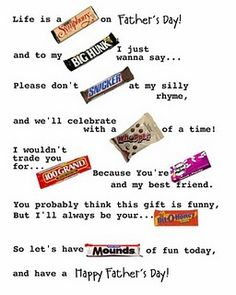 candy bar poster for father's day. I will use this for day 2 at the office! Candy Cards, Candy Gifts, Candyland, Candy Bar Poems, Candy Sayings, Candy Quotes, Candy Messages, Sweet Sayings, Fathers Day Poster