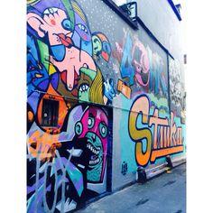 Finding graffiti art treasures. Around Brick lane in London. February 2014