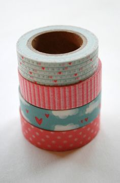 Washi Tape Set - 15mm - Combination AA - Pink and Blue Hearts - Four Rolls Washi Tape. $14.20, via Etsy.