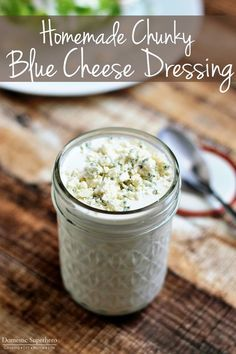 The Best Ever Homemade Chunky Blue Cheese Dressing - cool, creamy, tangy, and chunky blue cheese - SO easy and SO delicious!