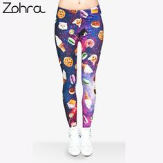 Cheap jeggings fashion, Buy Quality leggings cat directly from China woman leggings cat Suppliers:  Zohra Brand Women Leggings Cat and Sweet Food 3d Printed Leggings Fashion Women Leggin Seamless Leggings Mujer Fitness Jeggings
