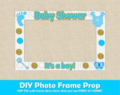 Baby shower photo frame prop boy. Printable. DIY picture frame prop. Selfie station blue and golden baby shower prop. Instant download. PDF Digital File. High resolution. 300 DPI, You can print it on 8.5x11 or A4 size. Have tons of fun in your baby shower with this photo frame prop. Save the file and use it in your next friends baby shower.  Print at home or in a printing shop. Use card stock for better quality (>60lb). These shapes fit in 20x30 card board size as shown in picture 1. If…