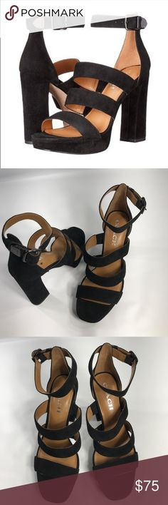 "Coach Marina Strappy Sandal New without box only worn once!  4 1/2"" heel; 1"" platform Size 7.5 Black Suede Adjustable ankle strap with buckle closure. Lightly padded footbed. Leather upper/leather and synthetic lining/synthetic sole. Coach Shoes Heels"