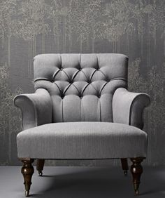 Arm Chair - Diamond Buttoned Backrest with rolled arms