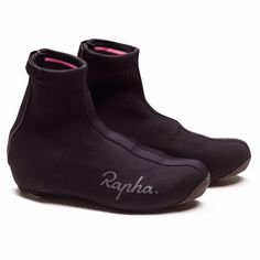 Rapha Overshoes - Black, Small - Neoprene overshoes that insulate and protect the feet against the rain and cold. With updated grippers to create an improved seal and an abrasion-resistant Kevlar sole. Now available in hi-vis pink. Mtb Shoes, Cycling Shoes, Cycling Gear, Cycling Outfit, Rapha Cycling, Cycling Clothes, Mini Velo, Cross Shoes, Black Shoes