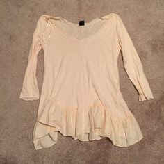 Boho off the shoulder top Peach colored off the shoulder top with ruffle at bottom. Somewhat sheer. Size Medium Tops