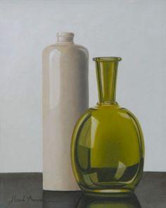 HENK BOON Beeldend kunstenaar : Compositie kruik met groene fles, Olieverf/paneel, 20 X 16 cm