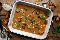 roasted summer vegetable & chilli soup - Dom in the Kitchen Veggie Soup, Vegetable Seasoning, Roasted Summer Vegetables, Chilli Soup, Vegetable Stock Cubes, Runner Beans, Roasting Tins, Hot Soup, Organic Vegetables