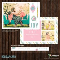 5x7 Christmas / Holiday Card Template with by TheHummingbirdPress, $8.00