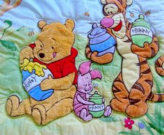 Disney Winnie the Pooh  Sweet Bees  Disney Baby Vintage Crib Bedding Comforter Quilt Blanket Raised Plush Appliques of Pooh, Tigger and Piglet