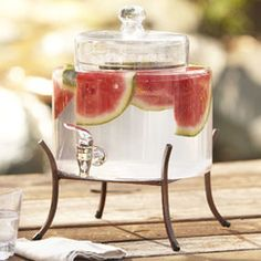 Serve sweet lemonade or chilled cucumber water with this lovely beverage dispenser, perfect for your next garden party of Sunday brunch gathering. Glass Beverage Dispenser, Sangria Recipes, Laminate Countertops, Buying A New Home, Beverages, Drinks, Traditional Furniture, Birch Lane, Kitchenware