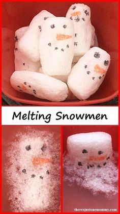 Melting Snowmen -- winter STEM activity using biodegradable packing peanuts