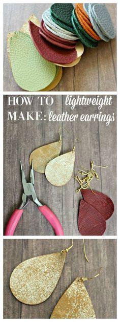 DIY Leder Ohrringe DIY Leather Earrings # earrings, Image Size: 290 x 772 Source Mason Jar Crafts, Mason Jar Diy, Diy Leather Earrings, Diy Earrings Easy, How To Make Earrings, Leather Jewelry Making, Leather Jewelry Tutorials, Diy Leather Jewellery, Diy Earrings Tutorial