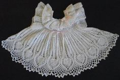 Hand made crochet mesh dress needs slip under but perfect for baby girl. Would look really cute in color too. Crotchet Patterns, Doll Patterns, Clothing Patterns, Pinafore Dress, Crochet For Kids, Crochet Baby, Crochet Books, Handmade Baby, Handmade Items