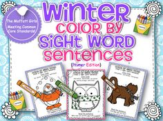 MWinter Color by Sight Word Sentences (Primer) product from TheMoffattGirls on TeachersNotebook.com
