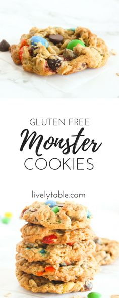 Bring out your inner kid with these chewy, flourless Monster Cookies filled with m&ms, chocolate chips, and peanut butter! (gluten-free) | via livelytable.com