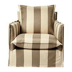 Sundial Chair in Khaki/Natural Awning Stripe.