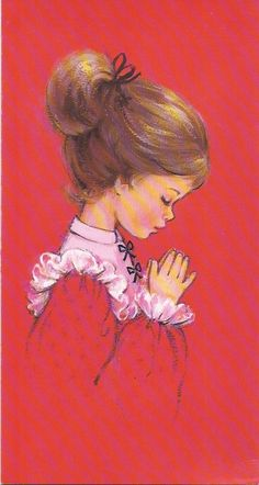 Vintage Christmas Greeting Card Young Girl praying