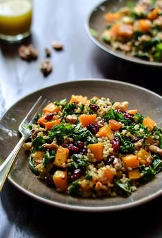 Maple Roasted Butternut Squash and Freekeh Salad with Cranberries and Kale | via Well Plated