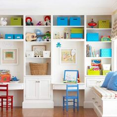 Keep your playroom neat and tidy with a large built-in structure. The lower shelves and cabinets store books, toys, and games, while the upper portion houses items that need parental supervision. Leave some desk space in between the shelves so your little ones have plenty of room to get creative.