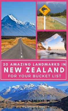 Tattoo Ideas Female Discover Beautiful New Zealand 20 Incredible New Zealand Landmarks. From the spectacular natural beauty of Mount Cook to the ethereal beauty of Milford Sound New Zealands natural landmarks are precious treasures. New Zealand Itinerary, New Zealand Travel Guide, Lake Wakatipu, Lake Wanaka, Monuments, Places To Travel, Travel Destinations, Craters Of The Moon, Visit New Zealand
