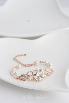 Rose Gold Bridal Jewelry - Rose Gold Bridal Bracelet