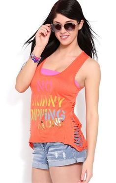 Deb Shops Tank with Cut Out Sides and No Skinny Dipping Alone Screen $8