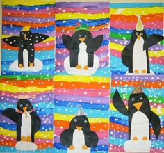 Add to kinder ROY G BIV Project.just need penguins! Painting For Kids, Drawing For Kids, Art For Kids, Kindergarten Art Lessons, Art Lessons Elementary, Winter Art Projects, Winter Crafts For Kids, Art Activities For Kids, Preschool Art