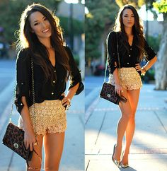 Black blouse & lace shorts.