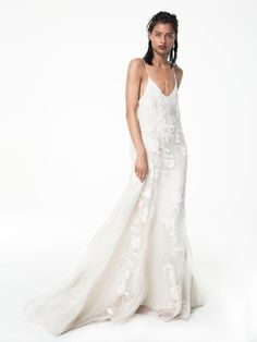 Houghton BEATRIX spaghetti strap trapeze gown in ivory semi-sheer silk organza with bohemian inspired 3-D hand embroidered silk cord flowers and leaves