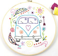 Way Cute Retro Vintage Hippy Van Hand Embroidery PDF Pattern. Features a cute Retro Style Hippy Microbus, decorated with pretty doodles like